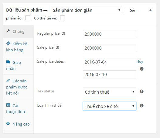 Thiết lập thuế trong Woocommerce